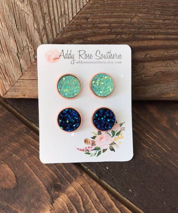 12mm Mint and Blue Druzy Stud Earring