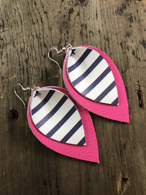 Hot Pink Leather Earrings With Blue and White Stripes