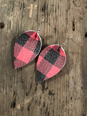 Black and Red Buffalo Plaid Earrings