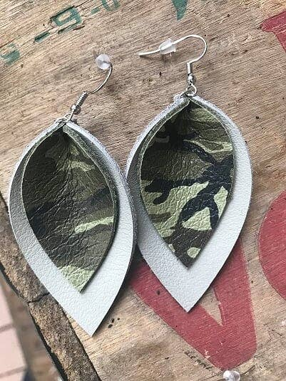 Camo Grey Leather Earring