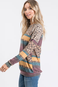 Leopard Multi Stripe Sweatshirt