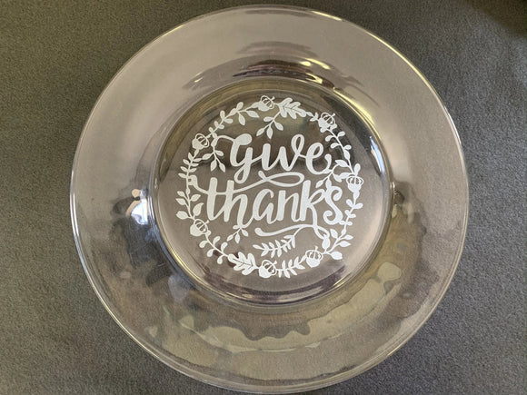 Decorative Etched Glass Plates