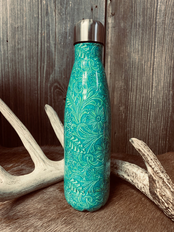 Tooled Turquoise Water Bottle
