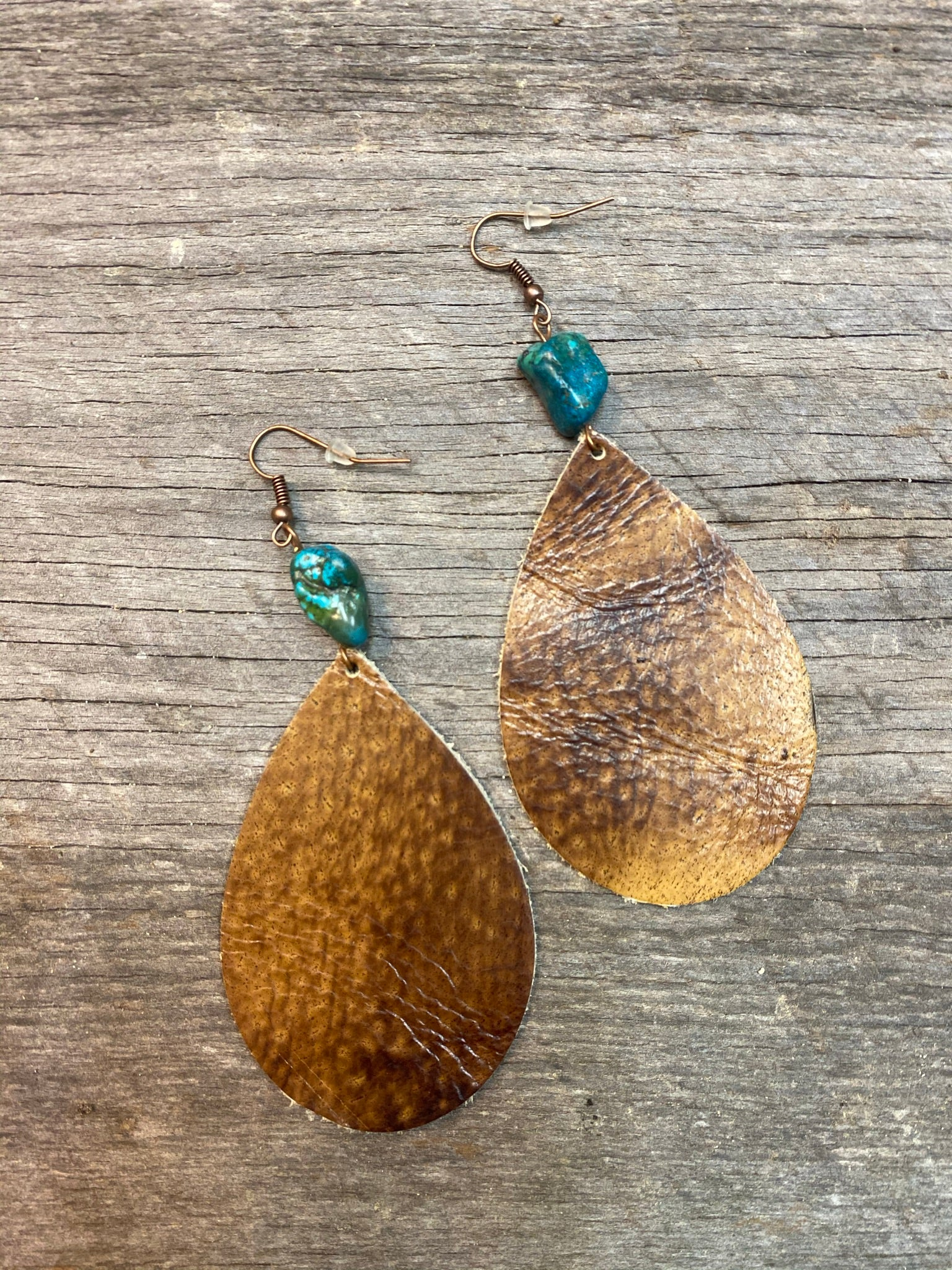 Leather Teardrop Earrings Brown w/ Natural Turquoise Chunk