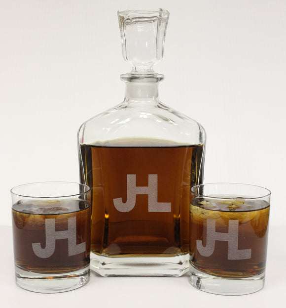 Custom Etched Glass Decanter Set