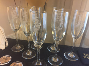 Custom Etched Glass Champagne Glasses