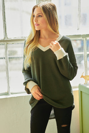 Chunky Solid Waffle Sweater
