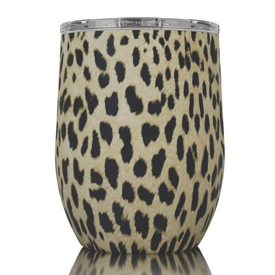 SIC 16oz Stemless Wine Glass - Cheetah