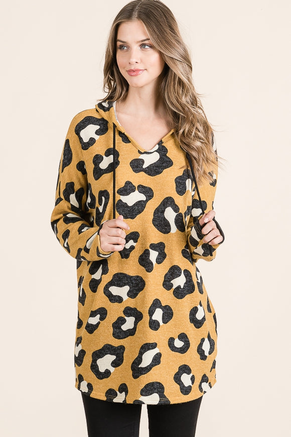 Mustard Hooded Leopard Top