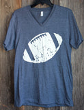 Distressed Football V-Neck T-Shirt