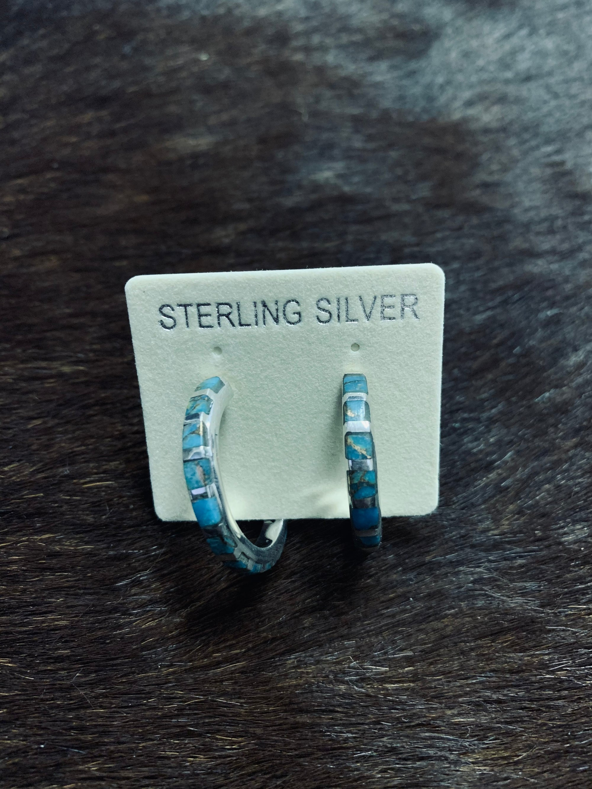 Matrix Turquoise Hoop Earrings