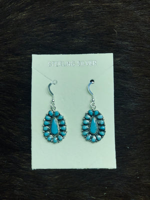 Turquoise Oval Flower Earrings