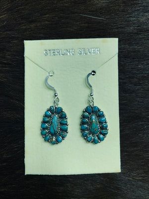 Matrix Turquoise Oval Flower Earrings