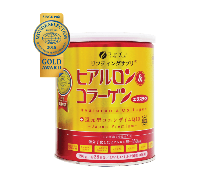 Closeup of FINE Premium Collagen + Ubiquinol Q10 and a Monde Selection Gold Award Badge