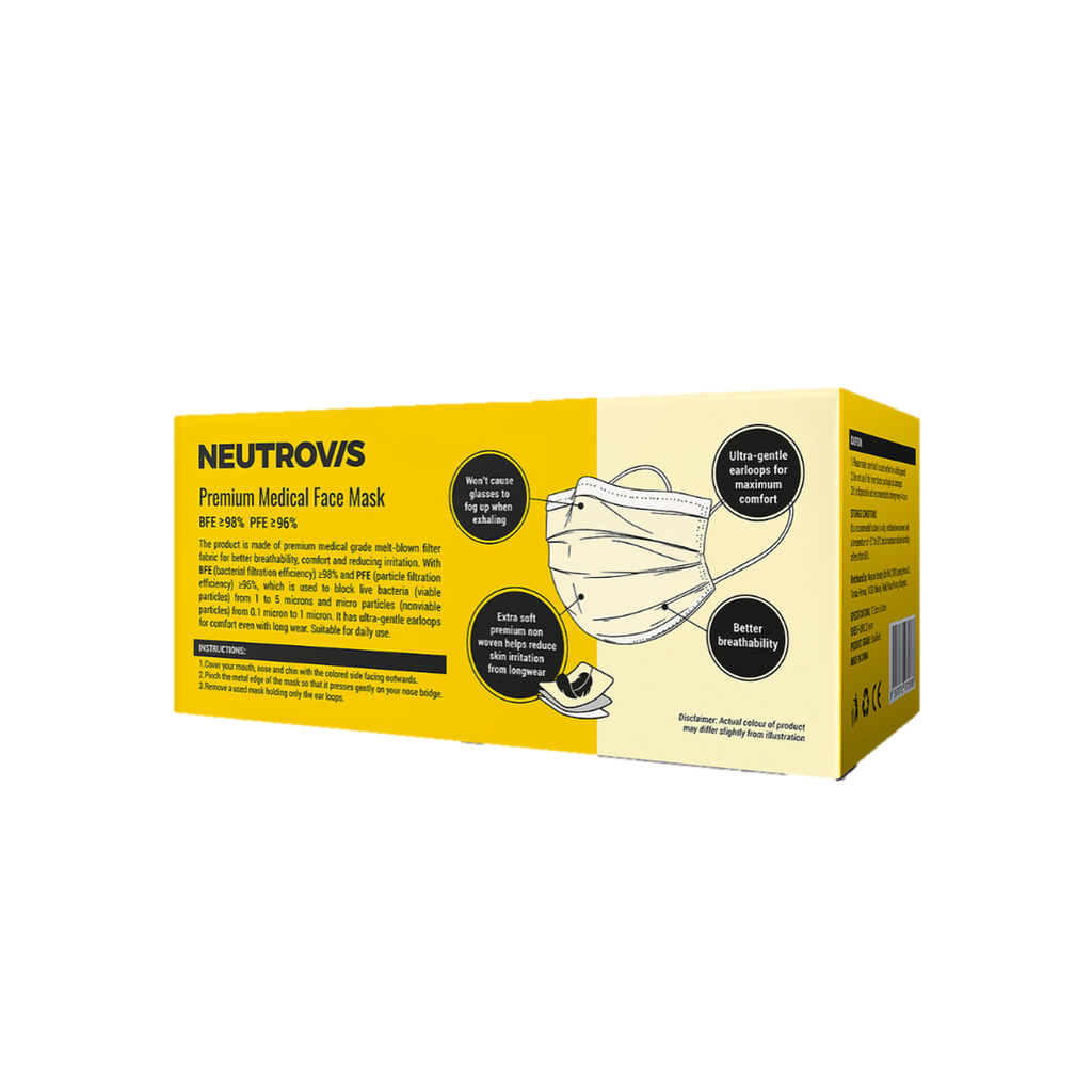 NEUTROVIS Premium Medical Face Mask 3ply (50pcs) - Baby Yellow