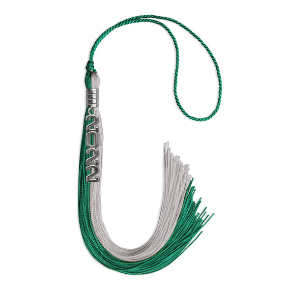 Emerald Green/Grey Graduation Tassel With Gold Date Drop
