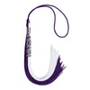 Purple/White Graduation Tassel With Gold Date Drop