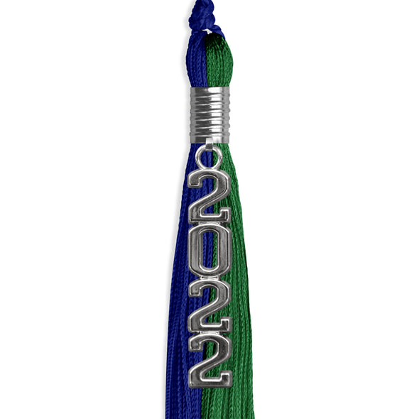 Royal Blue/Green Graduation Tassel With Gold Date Drop