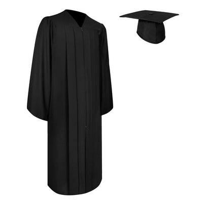 Matte Black Bachelor Graduation Gown & Cap