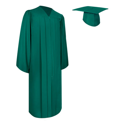 Matte Emerald Green Bachelor Graduation Gown & Cap