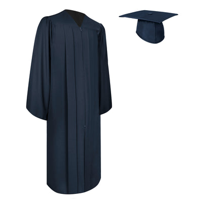 Matte Navy Blue Bachelor Graduation Gown & Cap
