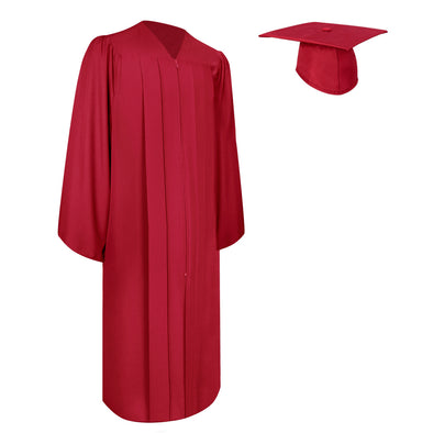 Matte Red Bachelor Graduation Gown & Cap