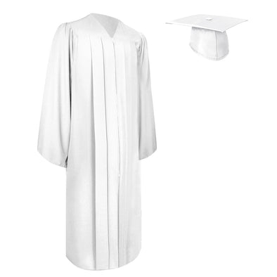 Matte White Bachelor Graduation Gown & Cap
