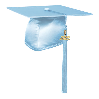 Shiny Light Blue Elementary Graduation Cap & Tassel