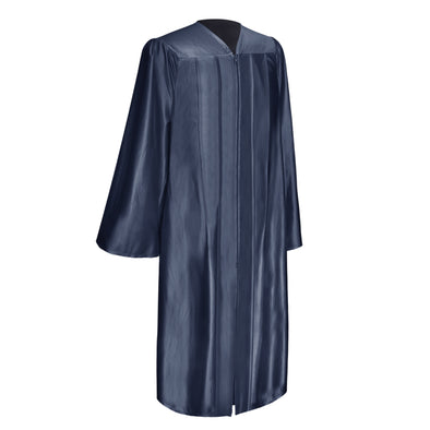 Shiny Navy Blue Bachelor Graduation Gown