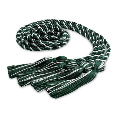 College & University Double Graduation Honor Cord Forest Green/White - Endea Graduation