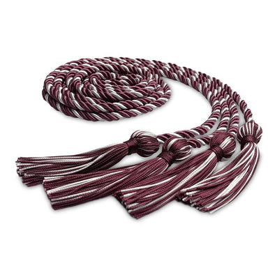 College & University Double Graduation Honor Cord Maroon/White - Endea Graduation