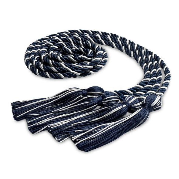 College & University Double Graduation Honor Cord Navy Blue/White - Endea Graduation