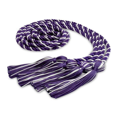 College & University Double Graduation Honor Cord Purple/White - Endea Graduation