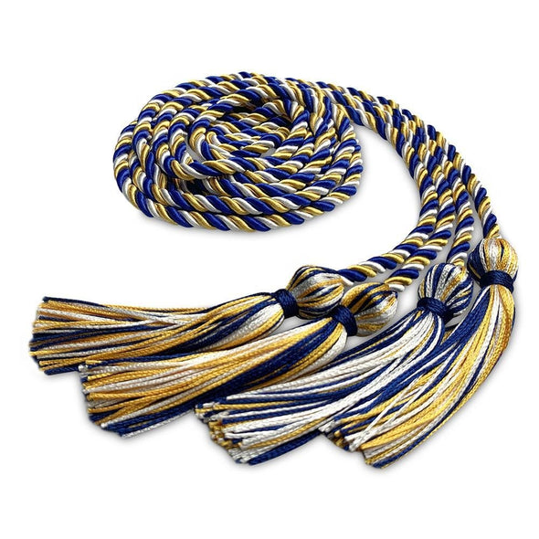College & University Double Graduation Honor Cord Royal Blue/Gold/White - Endea Graduation