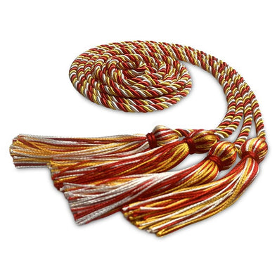 College & University Double Graduation Honor Cord Royal Red/Gold/White - Endea Graduation