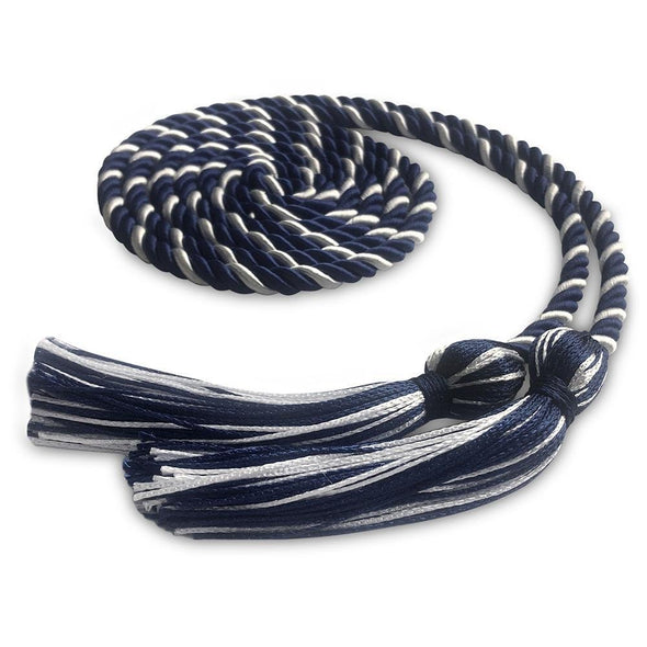 College & University Single Graduation Honor Cord Navy Blue/White - Endea Graduation