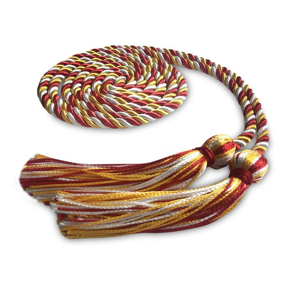 College & University Single Graduation Honor Cord Royal Red/Gold/White - Endea Graduation