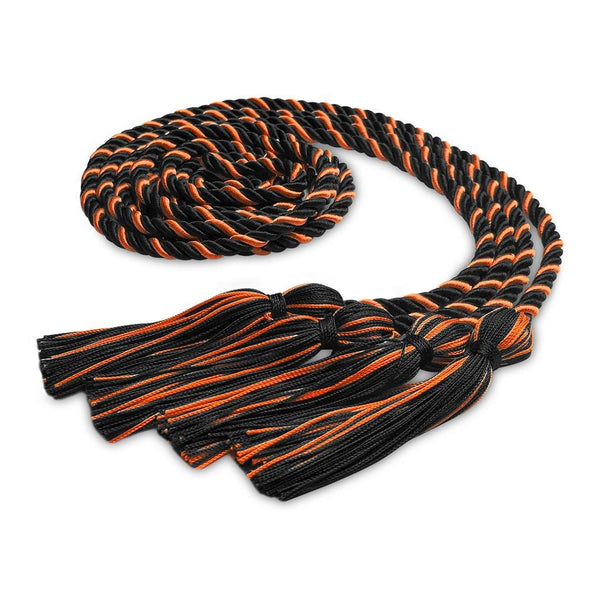 Double Graduation Honor Cord Forest Black/Orange - Endea Graduation