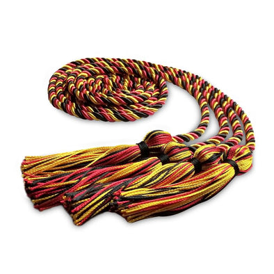 Double Graduation Honor Cord Royal Black/Red/Gold - Endea Graduation