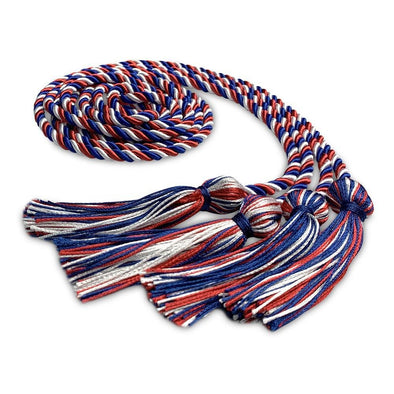 High School Double Graduation Honor Cord Royal Blue/Red/White - Endea Graduation