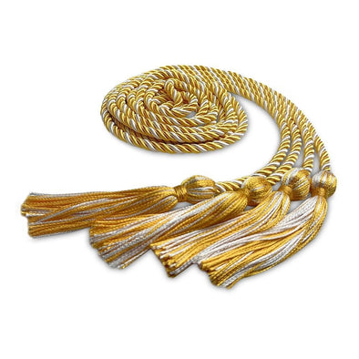 Middle School & Junior High Double Graduation Honor Cord Gold/White - Endea Graduation