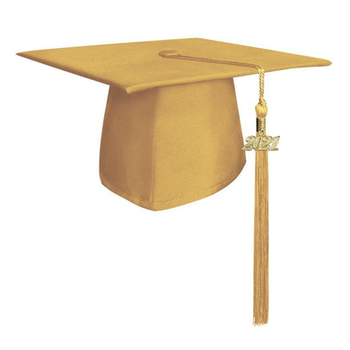 Middle School & Junior High Matte Gold Graduation Cap & Tassel - Endea Graduation