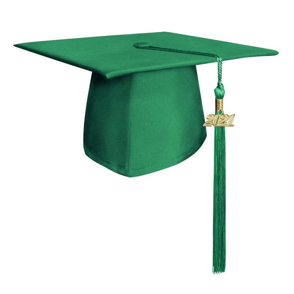 Middle School & Junior High Matte Green Graduation Cap & Tassel - Endea Graduation