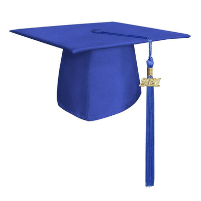 Middle School & Junior High Matte Royal Blue Graduation Cap & Tassel - Endea Graduation
