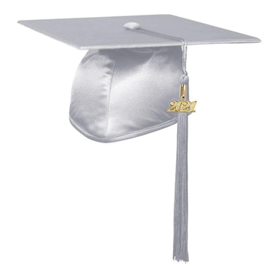 Shiny Silver Middle School & Junior High Graduation Cap & Tassel - Endea Graduation