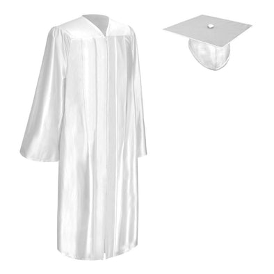 Shiny White Bachelor Graduation Gown & Cap - Endea Graduation