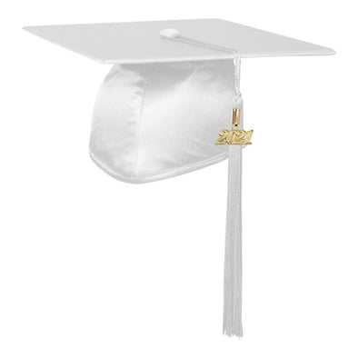 Shiny White Middle School & Junior High Graduation Cap & Tassel - Endea Graduation