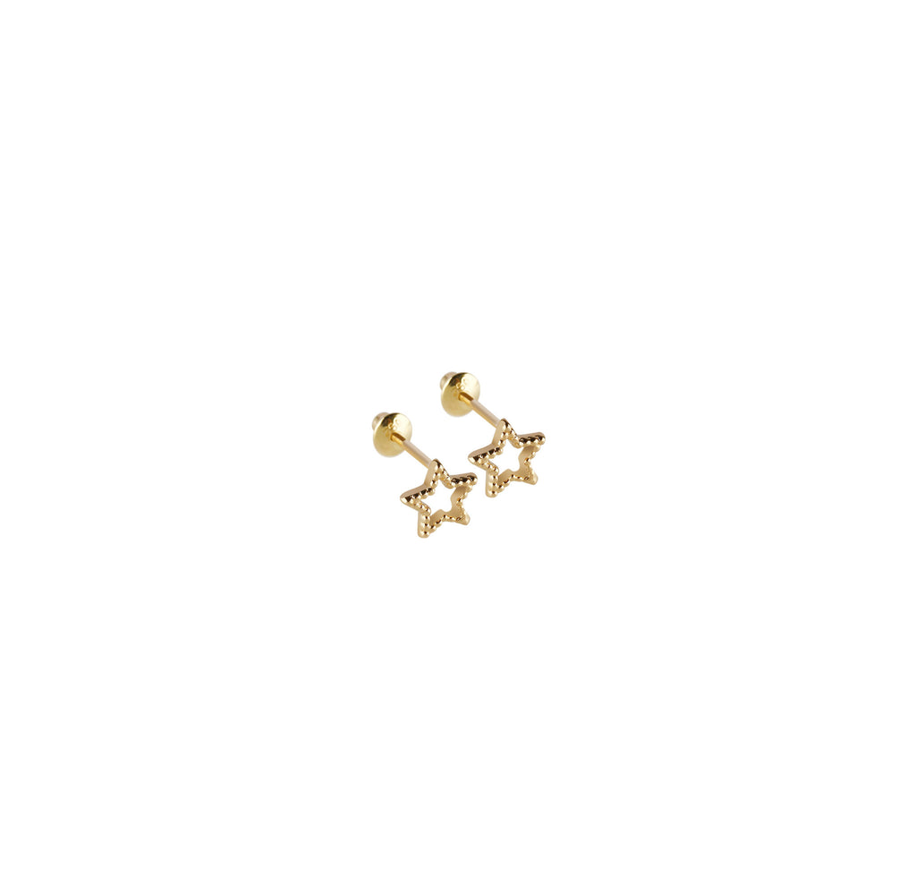 18k Mini Star Dotted Studs