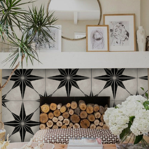 Tile stickers can be used to cover the fireplace surround