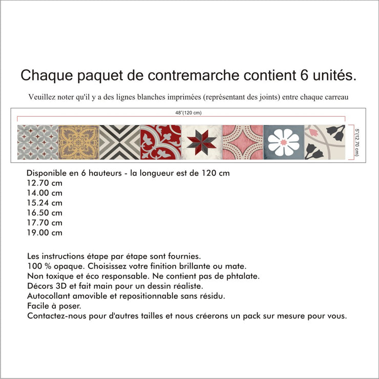 Contremarches Autocollants Patchwork Mix en Rose